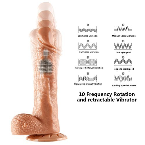 Proxoxo Dildo Vibrator Realistic Rotating Peni Vibration Silicone Dick Vaginal G Spot Stimulation and Anal Play Sex Toys with 360-Degree Rotation 10 Frequency Retractable Adult Sex Toys for Women