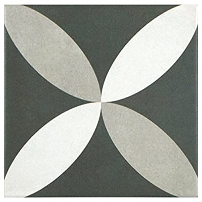 "SomerTile FRC8TWEP Fifties Ceramic Floor and Wall Tile, 7.75"" x 7.75"", White/Grey"