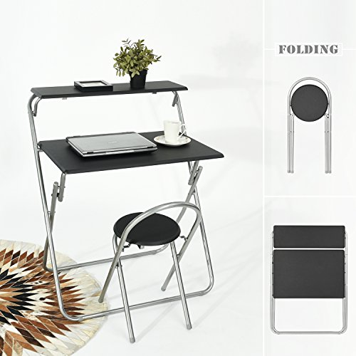 Aingoo Folding Computer Desk Chair Set 30'' Small Writing Table for Home Office/Teens Student Space Saving Mobile Workstation with 2 Shelves Black by Aingoo (Image #5)