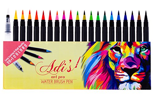 Adis Art Pro Watercolor Brush Pen Marker 20 Set & 1 Refillable Water Pen –Fine & Flexible Tips, ErgoLock Caps, Vibrant &Bold Colors –for Drawing, Calligraphy, Sketching, Coloring