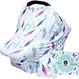 Hicoco Baby car seat Cover, Nursing Covers Breastfeeding Cover carseat Canopy (Feather)
