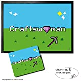Set: 1 Door Mat Floor Mat (28x20 inches) + 1 Mouse Pad (9x7 inches) - Gaming, Craftswoman