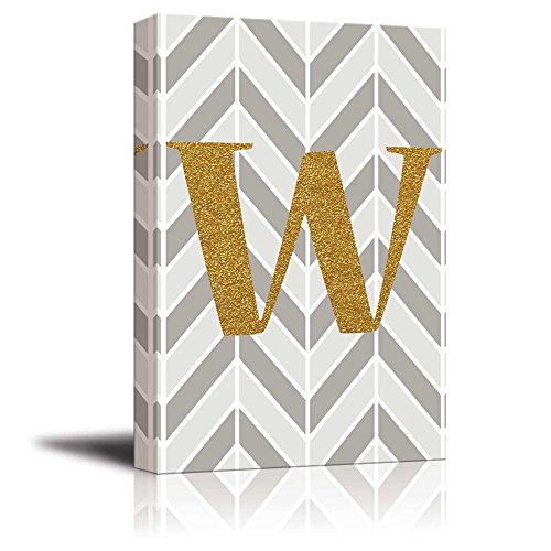 The Letter W in Gold Leaf Effect on Geometric Background Hip Young Art Decor