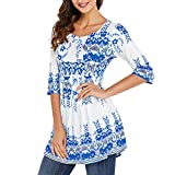 RedLife Women's Casual Tunic Blouses Floral Print Pleated Long Fit Tee Shirt Tops with 3/4 Sleeves (Small, White)