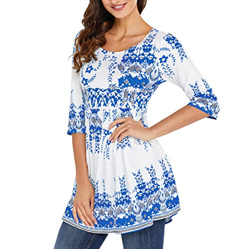 RedLife Women's Casual Tunic Blouses Floral Print Pleated Long Fit Tee Shirt Tops with 3/4 Sleeves (Small, White) by RedLife