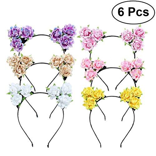 Amazon.com: BESTOYARD 6pcs Cat Ears Headband Rose Flower Hair Hoop Headwear for Masquerade Party Cosplay Costume Accessory: Beauty