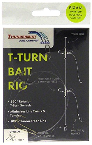 Thundermist Lure Company #1A Freshwater Crappies/Sunfish/Perch/Bullhead Catfish/Panfish T-Turn Bait Rig, Clear