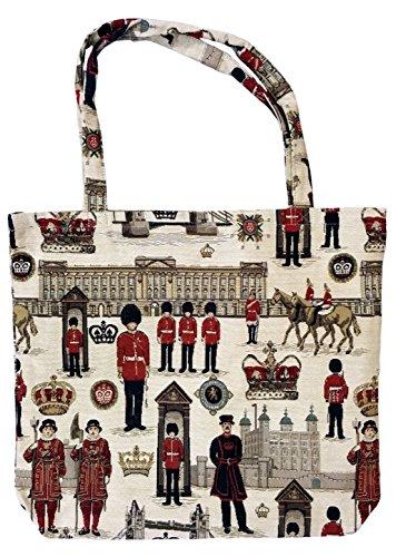 Einkaufstasche, Stofftasche Leinen 45 x 45cm, Motiv London, Einkaufsbeutel Gobelin-Stil