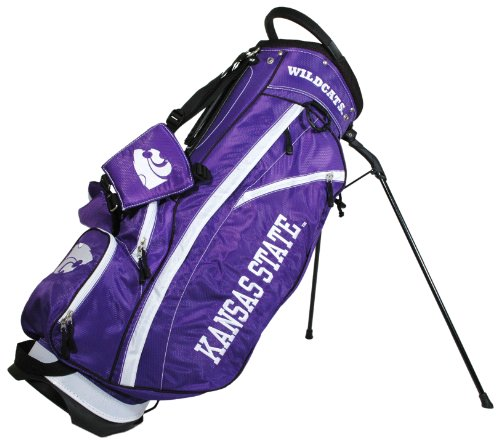 Team Golf NCAA Kansas State Wildcats Fairway Golf Stand Bag, Lightweight, 14-way Top, Spring Action Stand, Insulated Cooler Pocket, Padded Strap, Umbrella Holder & Removable Rain Hood