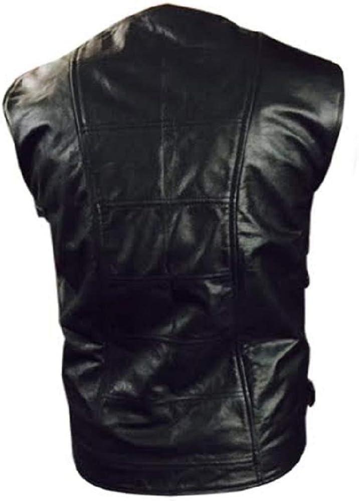 Mens Real Black Leather Vest Motorcycle Vest Biker Style Vest Waistcoat
