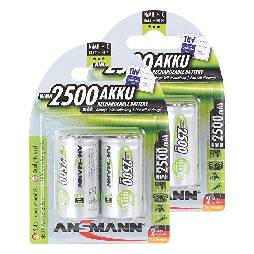 ANSMANN maxE Baby C Akku 2500mAh (4er Pack) vorgeladene ready2use NiMH Power Akkubatterie Babyzelle mit geringer Selbstentladung