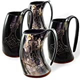 Norse Tradesman Genuine Viking Drinking Horn Tankards | Set of 4 Mugs | Thor's Hammer Engravings - ''The Mjolnir''