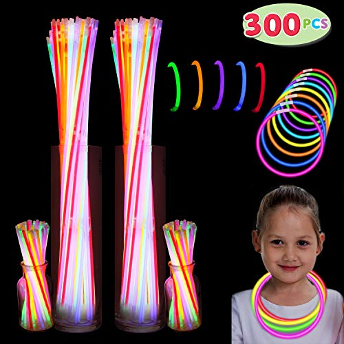 "300 Pack Glow Sticks with 100 22"" Necklaces + 200 8"" Bracelets; Connector Included; Glowstick Bundle Party Favors, Glow in the Dark Party Bulk Supplies, Neon Light Up Accessories for Kids and Adults. -"
