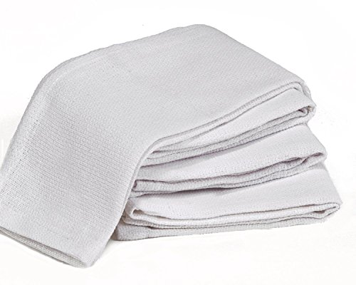 Globe House Products GHP 200-Pcs 15''x15'' White Preshrunk Cleaning Rag Huck Towels by Globe House Products