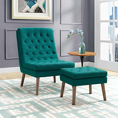 Modway EEI-2988-TEA Modify Tufted Modern Lounge Accent Chair and Ottoman Set Teal