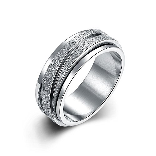 (Normor Clearance! 8MM Mens Womens Jewelry Grade Stainless Steel Ring Anniversary Wedding Band, Brushed Top, Grooved Polished Edges (Silver,)