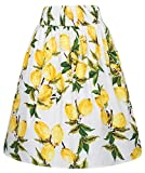 Kate Kasin 50's Style Flared Skirt Lemon Print Yellow Skirt Elastic Waist