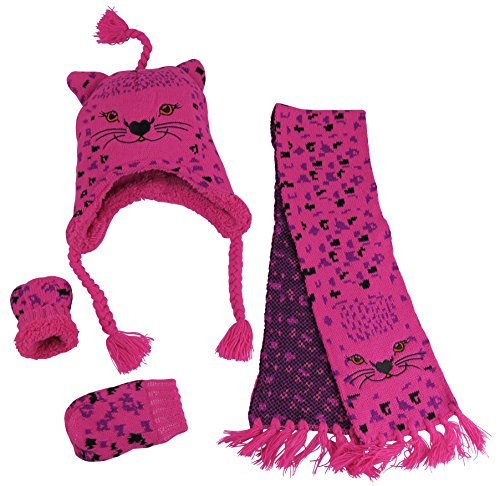 N'Ice Caps Girls Cute Kitty Warm Sherpa Lined Knitted 3PC Wi