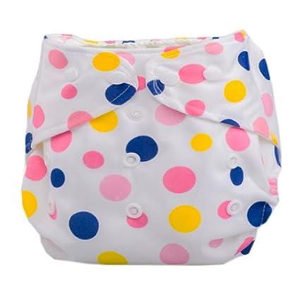 Verano Rejilla bebé pañales de tela para tamaño ajustable rosa de lunares