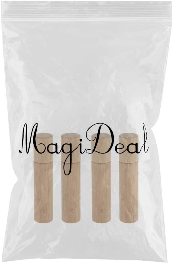 MagiDeal 4x10 Ml Roll-on Huile Essentielle Flacon Vide Bambou Container Rechargeable Portable pour Sac /à Main