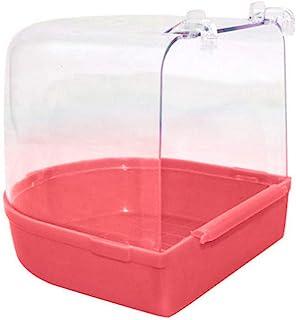 MoMo Honey Parrots Bathing Tub,Pet Bird Shower Box Hanging Transparent Wash Space Bath Cage for Bird Parakeet Cockatiel Pink