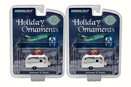 - Box of 12 Diecast Model Cars - Airstream 16' Bambi Holiday Ornament with Hook Ring 'Christmas Trees & Wreaths', Chrome, 1/64 Scale
