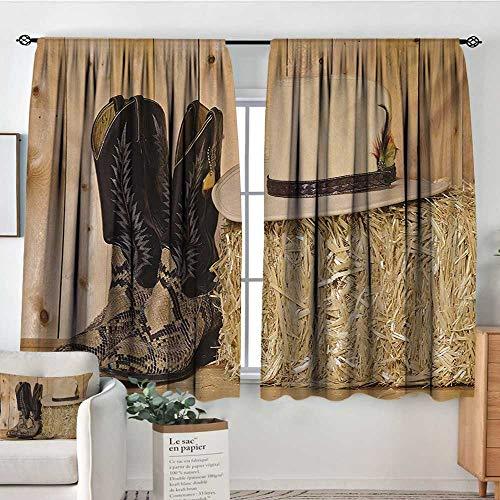 Elliot Dorothy Rod Pocket Blackout Curtain Western,Mystery Dark Skin Girl with Headdress Eye to Eye with Huge Snake,Cream Brown,Decor/Room Darkening Window Curtains 42