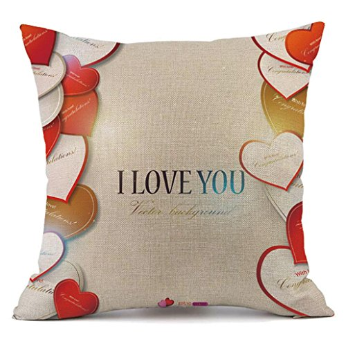 Tuscom Linen Cushion Cover Pillow Case ,2018 Valentine's Day Pillow Case Sofa Home Decor Gift ,45cm45cm,18″18″ (E) Review