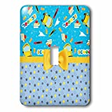 3dRose Anne Marie Baugh - Designs - Cute School Bus and Books Over Stars With Digital Bow - Light Switch Covers - single toggle switch (lsp_282892_1)