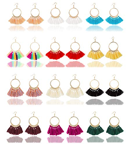 Fan Shape Earrings - Masedy 12 Pairs Tassel Hoop Earrings for Women Fan Shape Dangle Drop Earrings Girls Bohemian Statement Earrings (B: 12 Pairs)