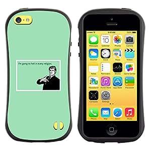 LASTONE PHONE CASE / Suave Silicona Caso Carcasa de Caucho Funda para Apple Iphone 5C / Hell Religion Funny Quote Humor Belief Devil