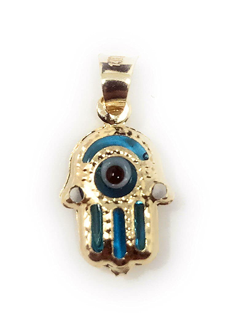14K Yellow Gold Evil Eye Hamsa Charm Pendant with 0.9mm Singapore Chain Necklace