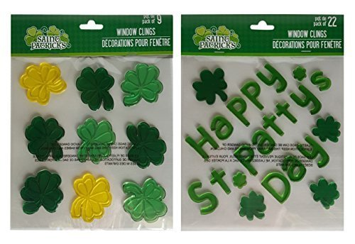 Greenbrier International St Patrick's Day Window Decorations Gel Clings Set of Two Sheets Total 31 Stickers