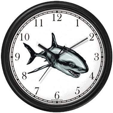 Shark No.1 Animal Wall Clock by WatchBuddy Timepieces Hunter Green Frame