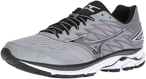 Mizuno Men's Wave Rider 20 Running Shoe, Light Grey/Black, 11 D US