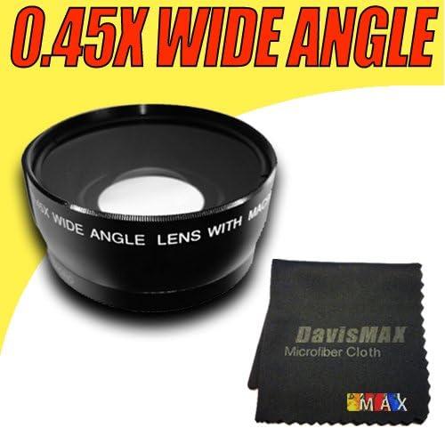 58MM 0.45X Wide Angle Lens Lens Caps Lens Bag and DavisMAX FiberCloth for Canon Rebel EOS T2i T3i T1i XT XS XSi XTi T3 /& More! Macro Includes