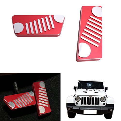 Jade For Jeep Wrangler JK Quality Aluminum Alloy Accelerator Brake Pedal Protector Cover Set for 2-Door 4-Door 2009-2016 Left-Hand Drive Jeep face style Red