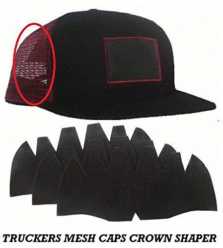 3Pk. Black-Truckers Cap Crown Mesh Inserts, Comfortable, Flexible-Long Lasting Hat Liner| Brim Ball Caps| Sports Team Hats| Snapback shaper| Nike Caps| Adidas Caps Men and more 100% - To Determine Head Shape How