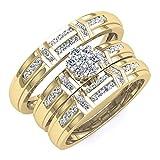 0.50 Carat (ctw) 10K Yellow Gold Round Diamond Men & Women's Cluster Engagement Trio Bridal Set 1/2 CT