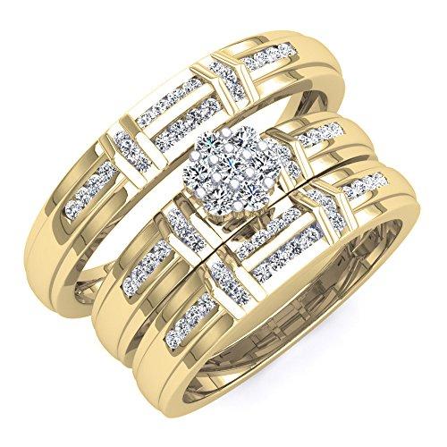 Dazzlingrock Collection 0.50 Carat (ctw) 10K Round Diamond Men & Women's Cluster Engagement Trio Bridal Set 1/2 CT, Yellow Gold