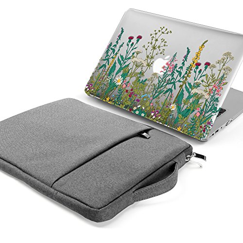 GMYLE MacBook Air 13 Inch A1369/A1466 (2008-2016,2017 Release) 2 in 1 Bundle, Hard Clear Glossy Case and 13-13.3 Inch Carrying Laptop Sleeve Bag with Handle & Pocket - Garden Flower Set
