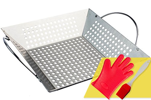 Flexible Grill Basket (Andes Broos Best Stainless Steel Grill Basket for Charcoal or Gas Grilling–Great for BBQ Vegetables, Fish, Shrimp, Chicken, Kabob. Large with Handle. Barbecue Accessories Set w/ Basting Brush and Mitt)
