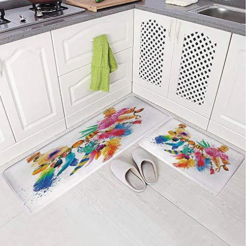 2 Piece Non-Slip Kitchen Mat Rug Set Doormat 3D Print,Colored Image Flowers Ornamental Elements Lea,Bedroom Living Room Coffee Table Household Skin Care Carpet Window Mat,