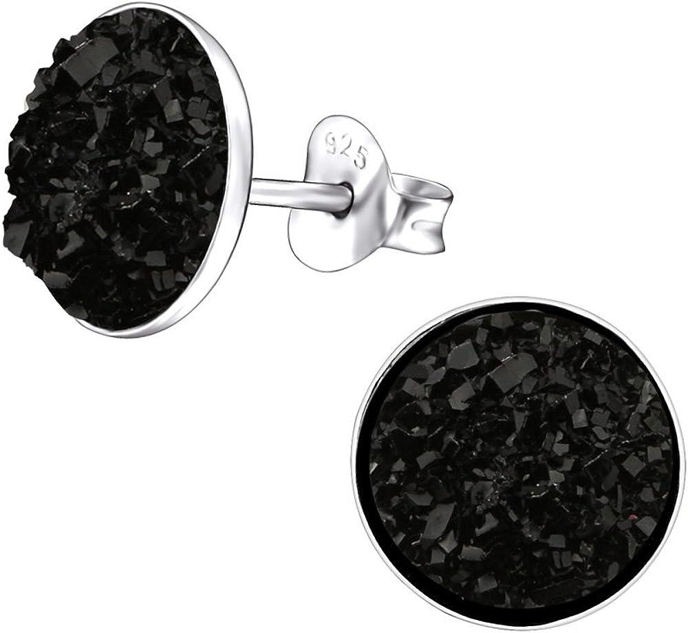 Laimons Pendientes para mujer Disco de diseño Negro Brillante Plata de ley 925