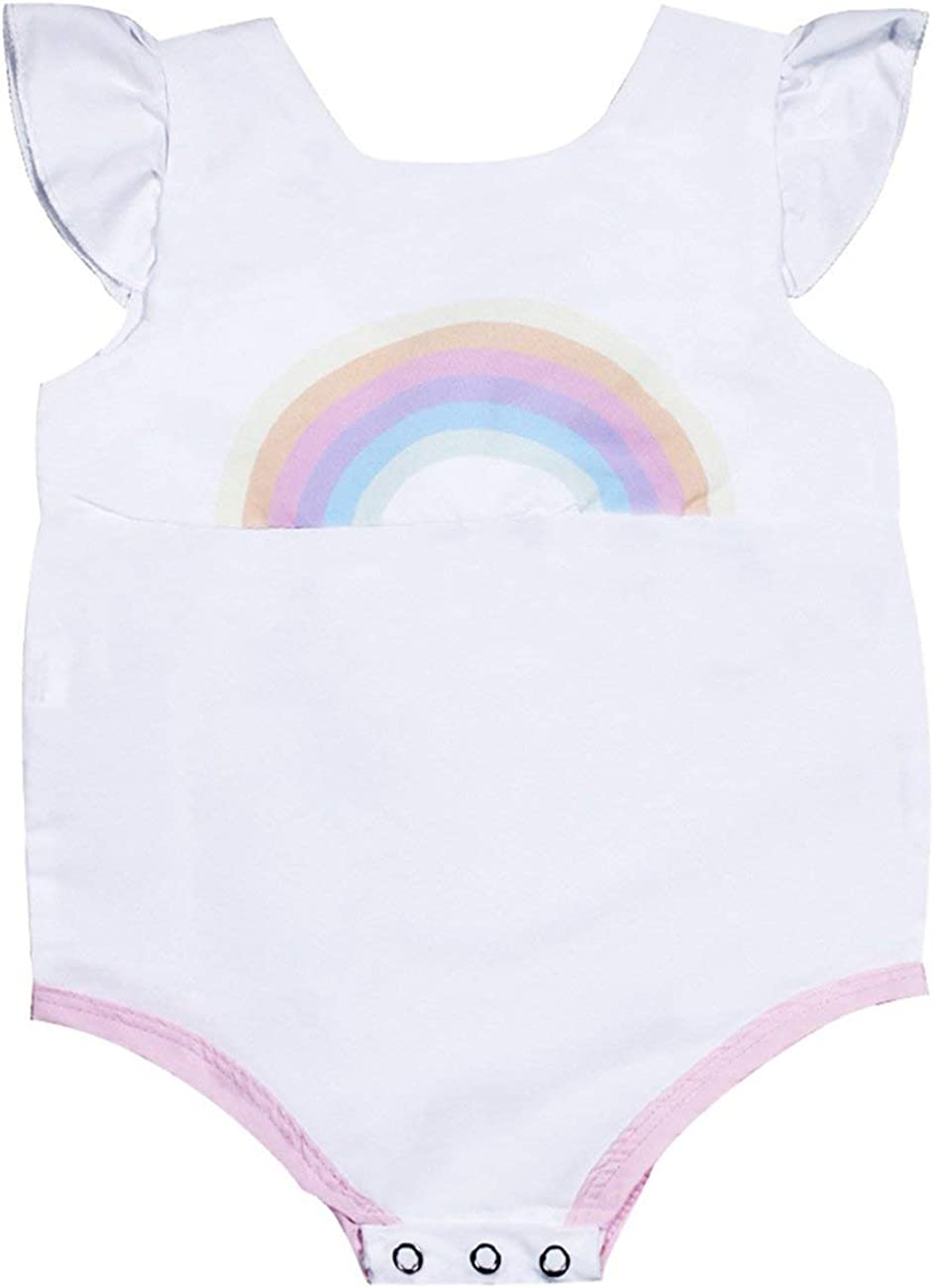 Summer Baby Girls sin Mangas Cuello Redondo Cute Cartoon Rainbow Printing Triangle Romper Fashion BabySuits Outfits-White-70