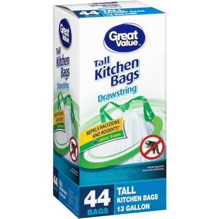 Great Value 13 Gallon Drawstring Tall Kitchen Bags, 44 count