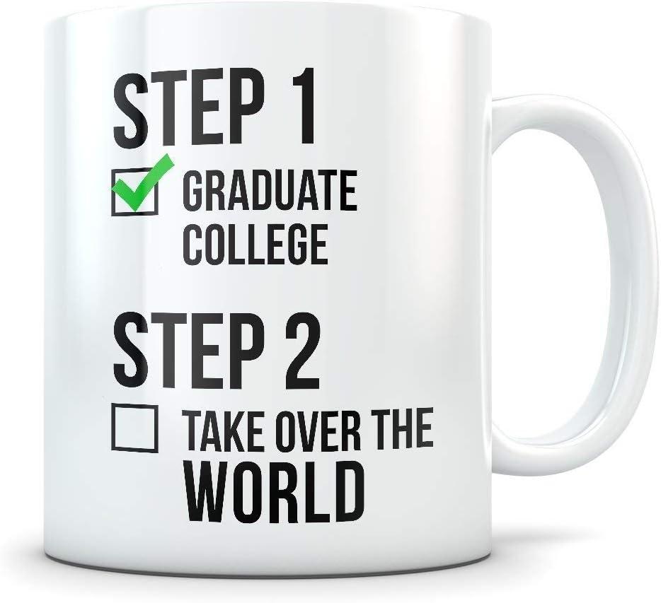 Divertido regalo de graduación universitaria - Los mejores graduados universitarios - Taza de café Felicitaciones para estudiantes universitarios de hombres y mujeres - Diploma de graduación o taza de