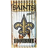 Team Sports America NFL New Orleans Saints Corrugated Metal Wall Art, Small, Multicolored