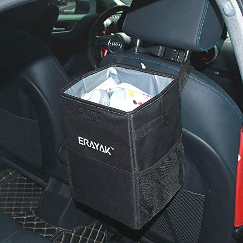 ERAYAK Trash Can for Car with Lid and Storage Pockets Collapsible Cars Garbage Container Bag Accessories Interior