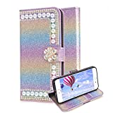For iPhone 7 Plus/ 8 Plus Leather Case,Aearl Rainbow Bling Glitter Rhinestone Pearl PU Wallet Flip Cover [Screen Protector] [Diamond Flower Buckle] Stand Case for iPhone 8 Plus/ 7 Plus -Gradient Blue